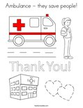 Ambulance - they save people! Coloring Page