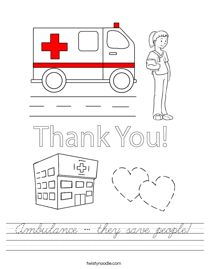 Ambulance - they save people! Worksheet