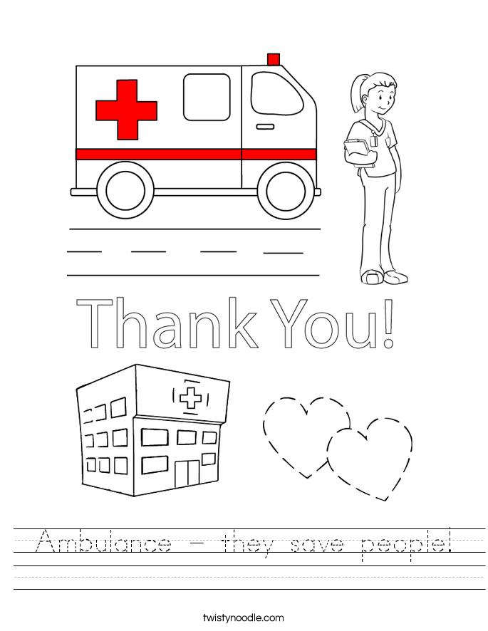 Ambulance - they save people! Worksheet