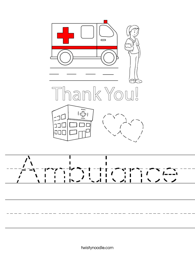 Ambulance Worksheet Twisty Noodle
