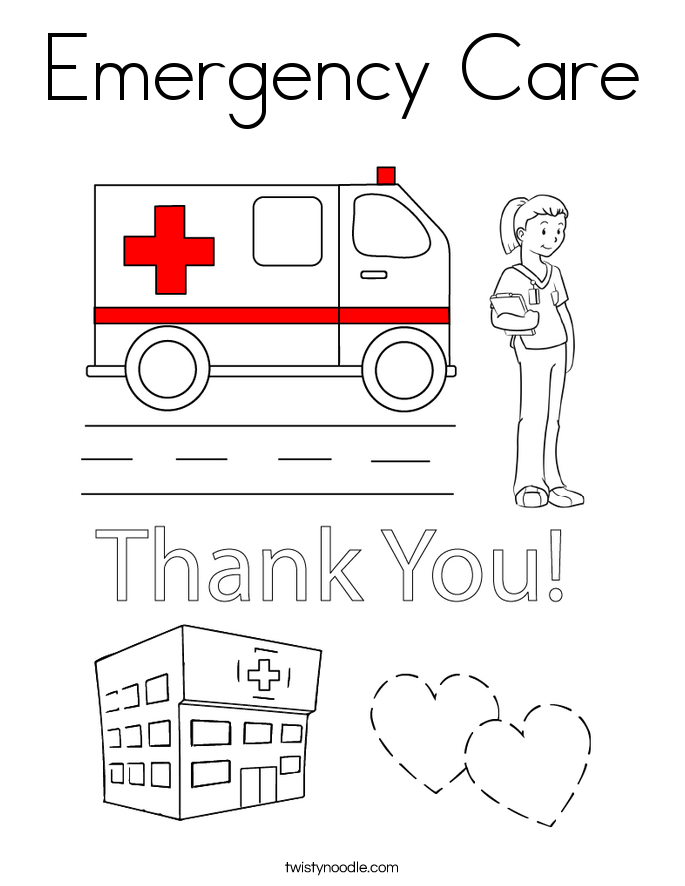 Emergency Care Coloring Page Twisty Noodle