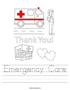 Emergency Care Handwriting Sheet