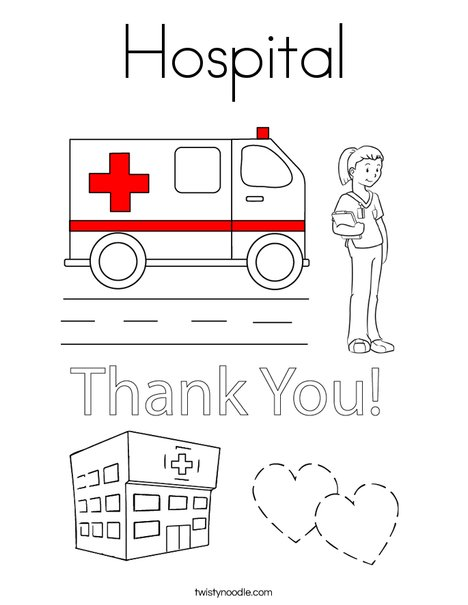 hospital coloring page twisty noodle rh twistynoodle com Ambulance Coloring Pages Health Care Coloring Pages