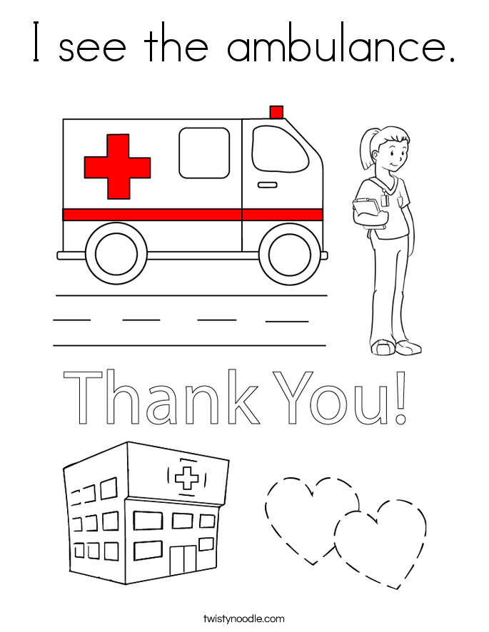 I see the ambulance. Coloring Page