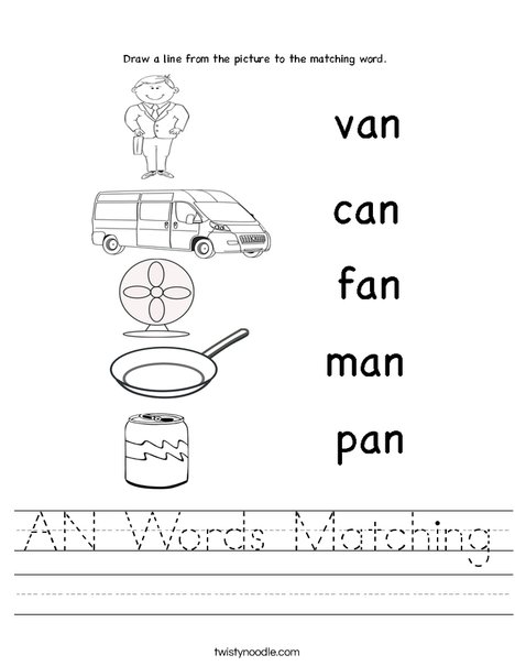 AN Words Matching Worksheet - Twisty Noodle