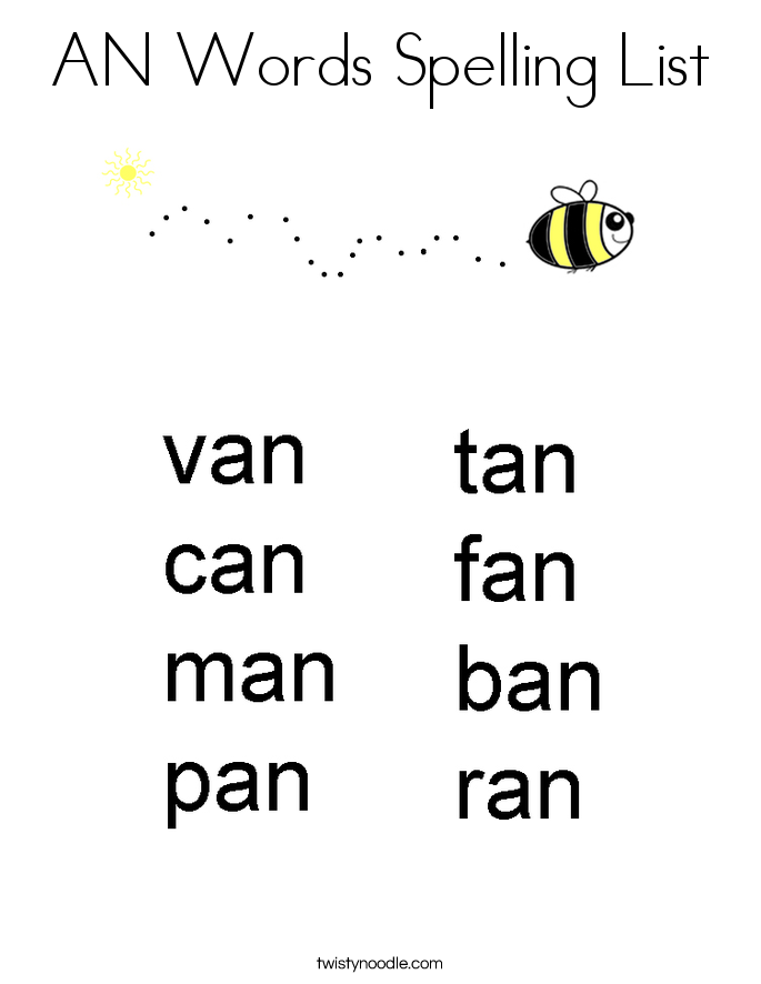 AN Words Spelling List Coloring Page