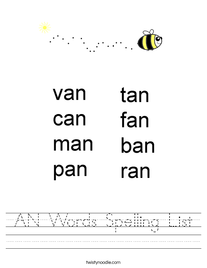 AN Words Spelling List Worksheet