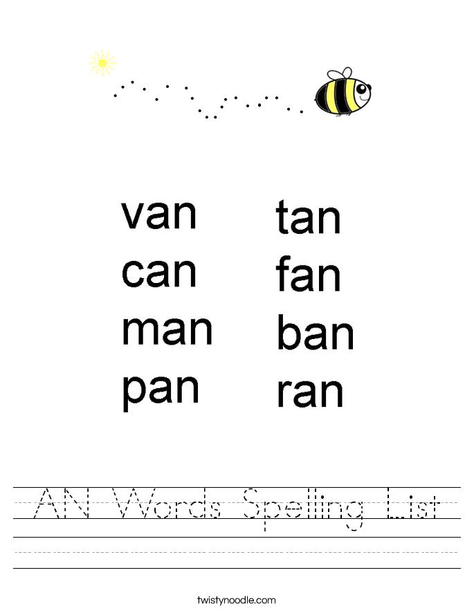 AN Words Spelling List Worksheet