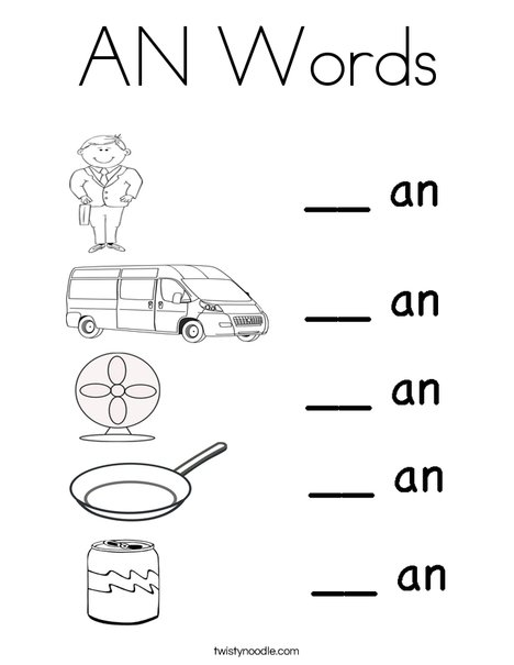 AN Words Coloring Page