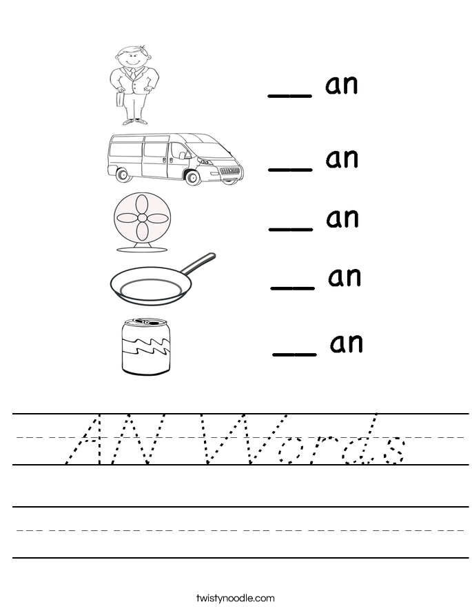 AN Words Worksheet