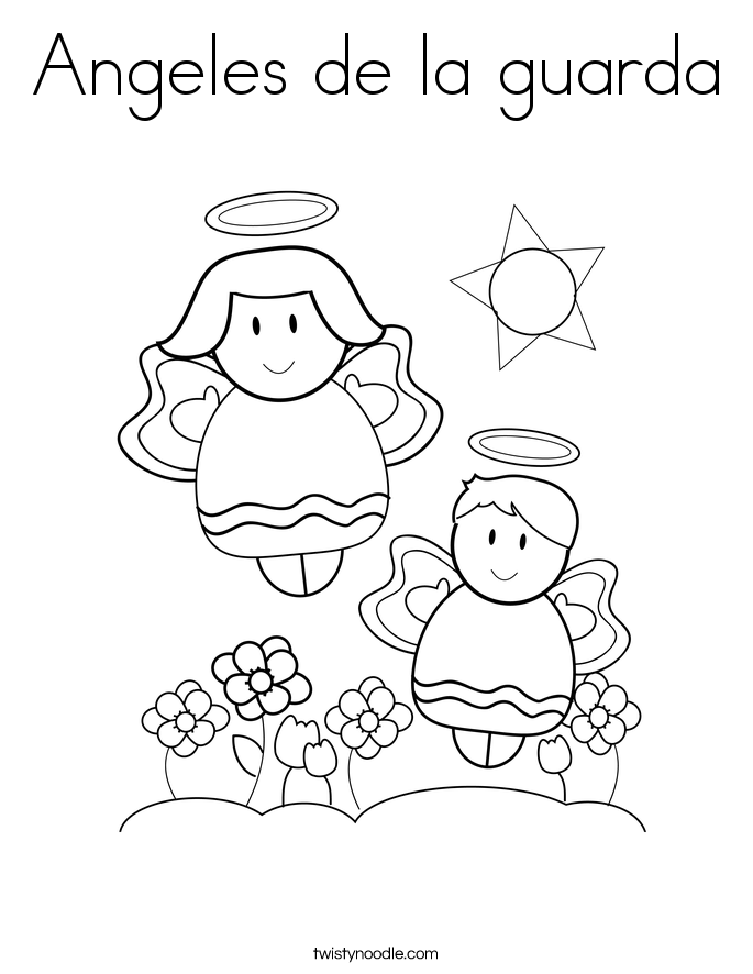 Angeles de la guarda Coloring Page