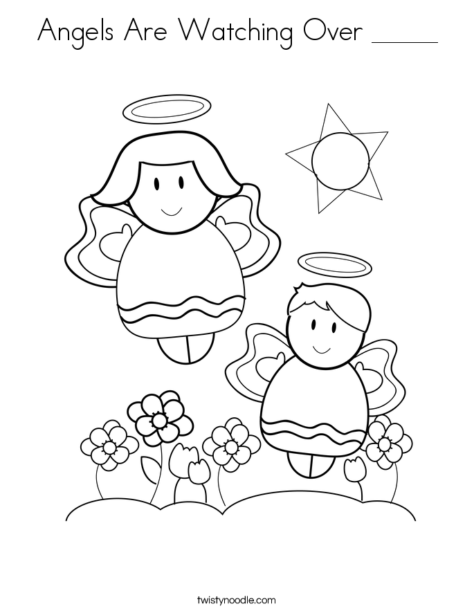 Angels Are Watching Over _____ Coloring Page