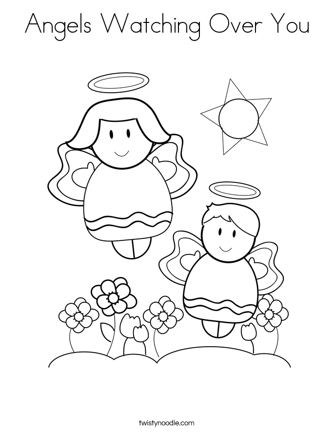 Angels Watching Over You Coloring Page
