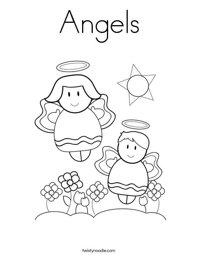 Angels Coloring Page Twisty Noodle