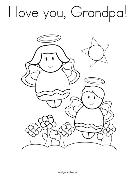 i love you great grandpa coloring pages | I love you, Grandpa Coloring Page - Twisty Noodle
