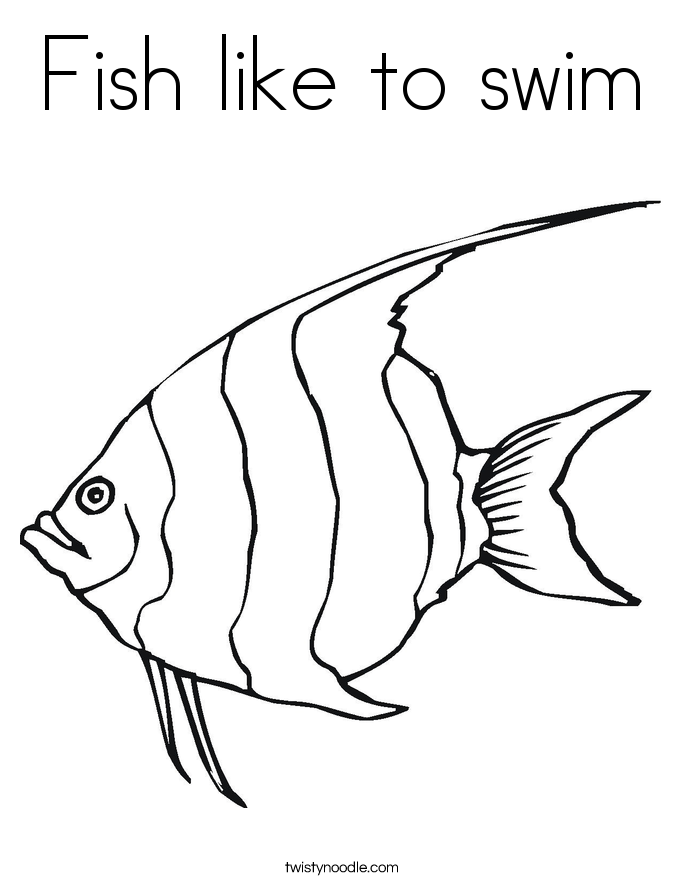 Fish like to swim Coloring Page