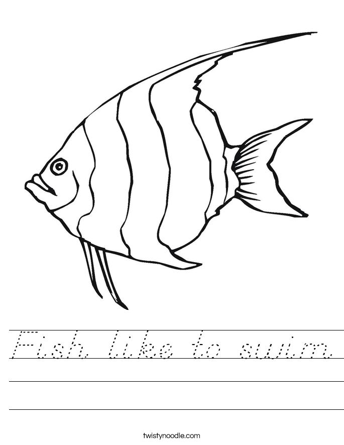 Fish like to swim Worksheet