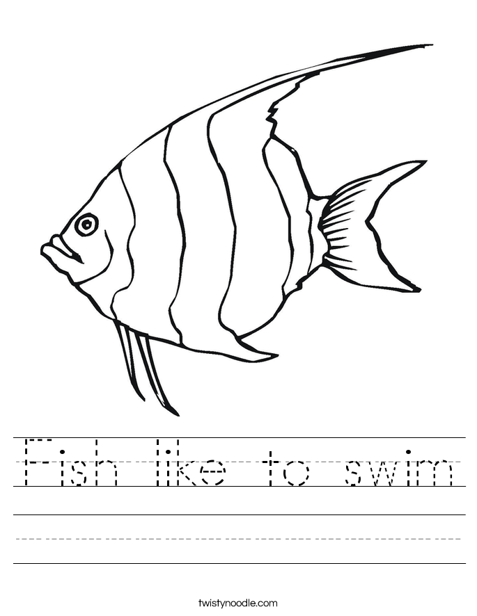 Fish like to swim Worksheet