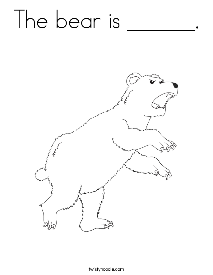 The bear is ______. Coloring Page