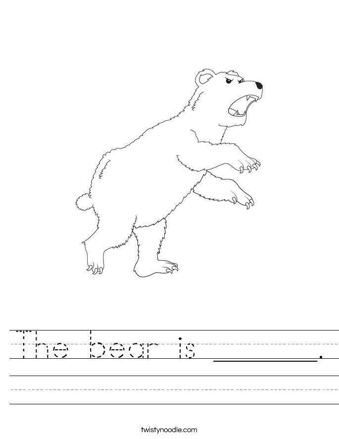 The bear is ______. Worksheet