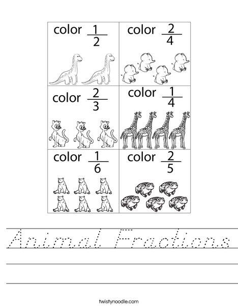 Animal Fractions Worksheet