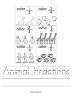 Animal Fractions Handwriting Sheet
