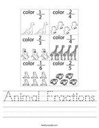 Animal Fractions Handwriting Sheet