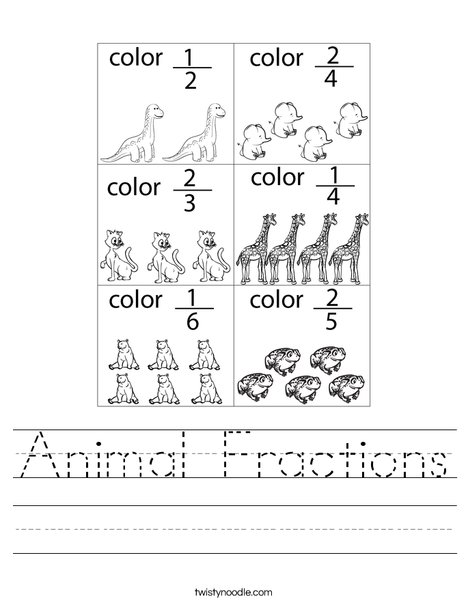 Animal Fractions Worksheet