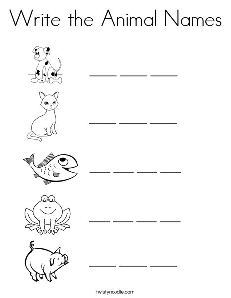 Animal Spelling Coloring Page
