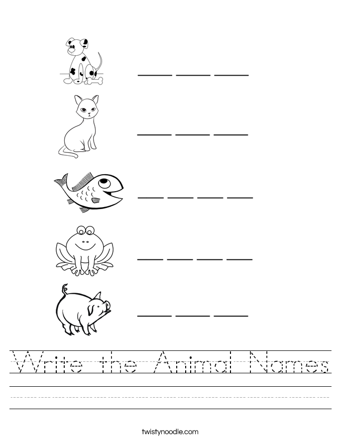 Write the Animal Names Worksheet