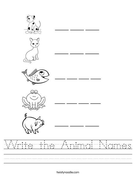 write the animal names worksheet twisty noodle. Black Bedroom Furniture Sets. Home Design Ideas
