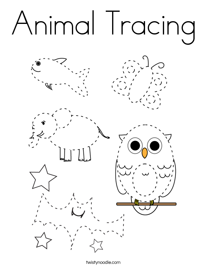 Animal Tracing Coloring Page