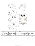 Animal Tracing Handwriting Sheet