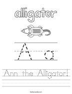 Ann the Alligator Handwriting Sheet