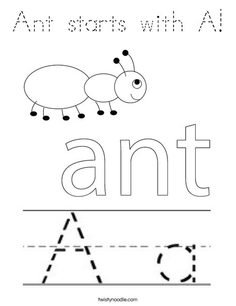 Ant starts with A! Coloring Page