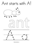 Ant starts with A Coloring Page