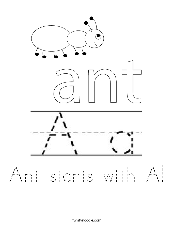 Ant starts with A! Worksheet