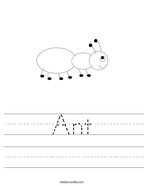 Ant Handwriting Sheet