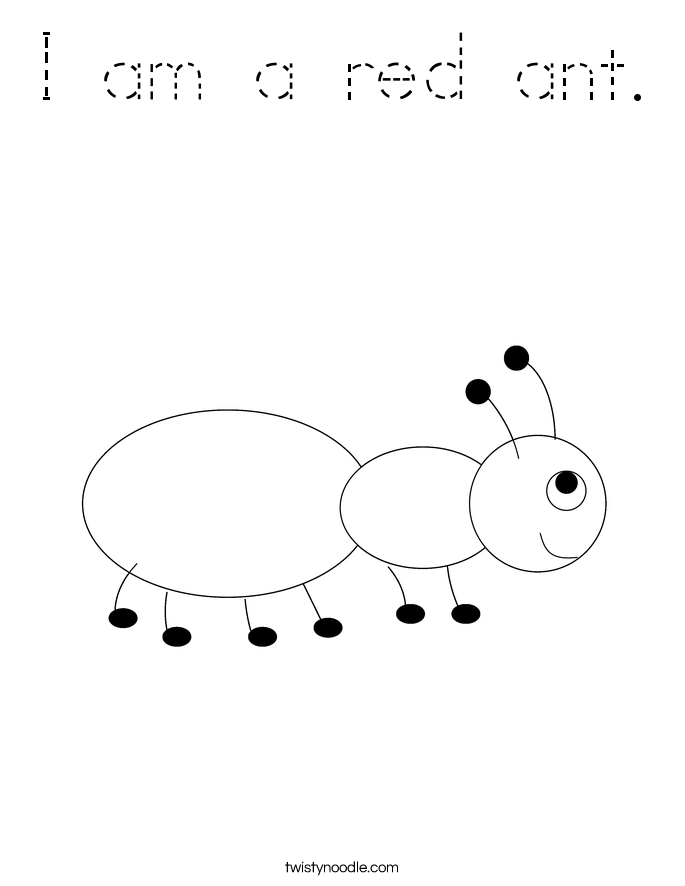I am a red ant. Coloring Page