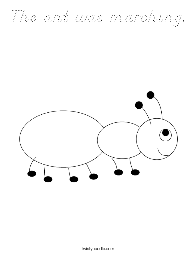 The ant was marching. Coloring Page