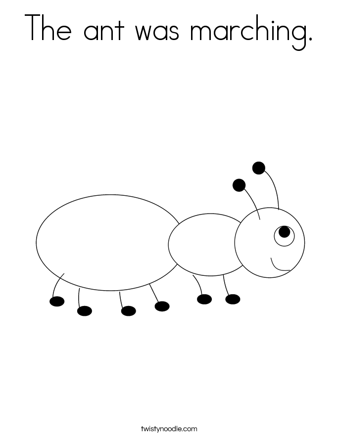 The Ant Was Marching Coloring Page