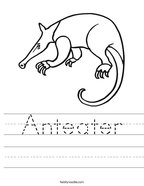 Anteater Handwriting Sheet