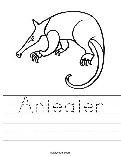 Anteater Worksheet Twisty Noodle