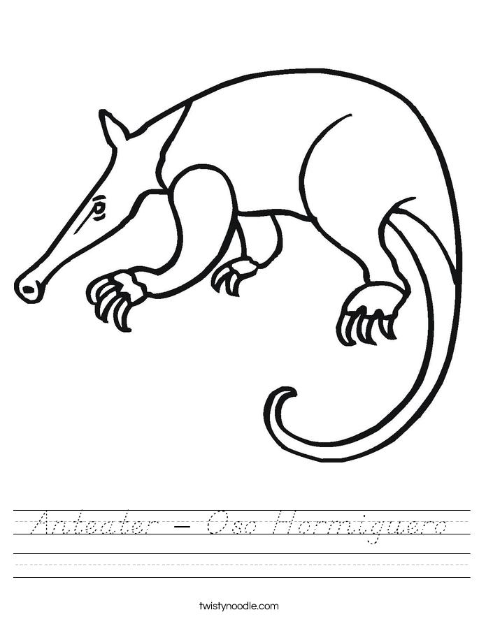 Anteater - Oso Hormiguero Worksheet