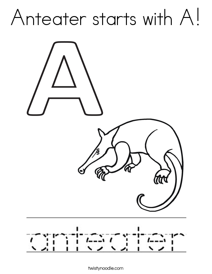 Anteater starts with A Coloring Page - Twisty Noodle