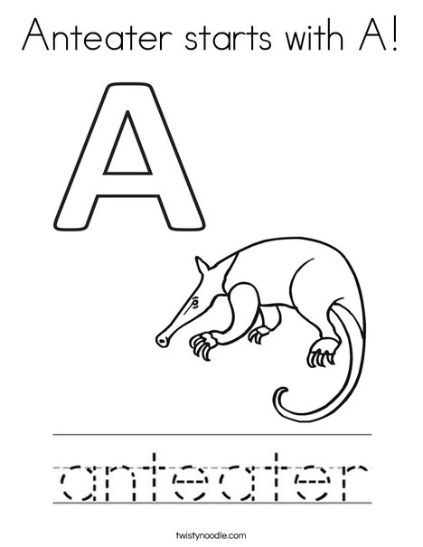 Anteater starts with A! Coloring Page