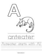 Anteater starts with A Handwriting Sheet