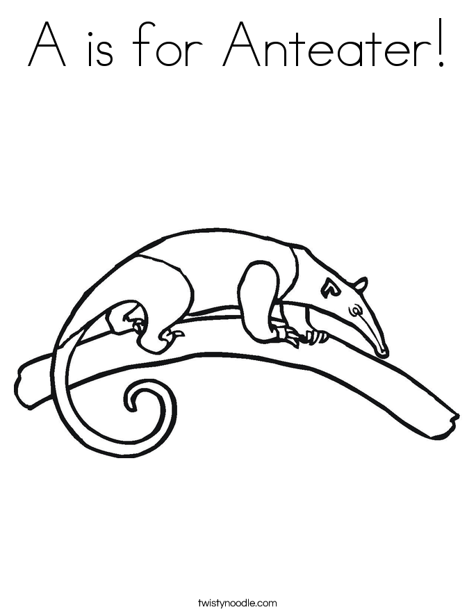 A is for Anteater! Coloring Page