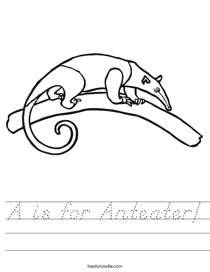 A is for Anteater! Worksheet