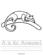 A is for Anteater Handwriting Sheet